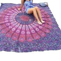 beach towel sales - Hot Sale Beach Towel Chiffon Bohemia Style Square Towel Purple Mandala Printed Shawl Multi use Indian Peacock Mandala Beach Blanket A