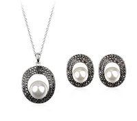 Wholesale Super luxurious high quality k gold plated Austrian crystal pearl necklace earrings women bridal fashion jewelry set