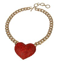 Wholesale Factory Price Hot Sale Fashion Multi Rhinestone Alloy Big Heart Shape Pendant Necklace