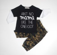Spring / Autumn baby camo outfit - Ins Toddler Baby Boy Clothes Outfits Baby Clothes letters fake two piece T shirt camo pants Sets Toddler Boys Kids month year