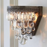 antique crystal wall sconce - Luxury Antique American Style Luster Crystal Wall Lamp Home Decorative Kitchen Crystal Wall Sconce Light Fixture Shipping Free