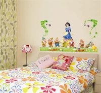 animated halloween decoration - Snow White and the Seven Dwarfs Sticker Animated Cartoon Home Decoration Wall Adhesive Nursery Home Decorative Sticker