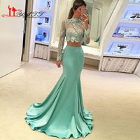 Wholesale Sexy Two Piece Mermaid Prom Dresses Sheer Lace Top High Neck Long Sleeves Sweep Train Satin Formal Evening Party Gowns