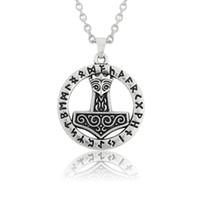 antique necklace religious - 20pcs Fashion Mjolnir Thor Hammer Pendant Zinc Alloy Antique Silver Plated Religious Pendant Link Chain Necklace A125501