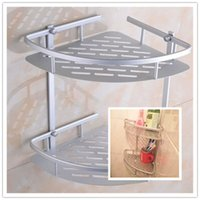 bars sundries - Hot Two Layer Wall Mounted Bathroom Rack Towel Washing Shower Basket Bar Shelf Bathroom Accessories Shampoo Holder