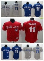 Wholesale Top Quality Flexbase Kevin Pillar White Grey Red Blue Fashion Stars Toronto Blue Jays Baseball Jerseys Cheap