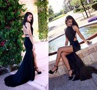 Wholesale High Neck Mermaid Prom Dresses Black Cutaway Sides Backless Evening Dresses Side Split Evening Dresses Sexy Long Evening Gowns
