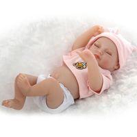 al por mayor muñecas de las niñas a tamaño completo-Super Size realista de cuerpo completo de silicona suave vinilo renacido Real Dolls bebé recién nacido muchacho de las muchachas de 11 pulgadas 27CM Alive Muñecas Juguetes