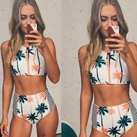 beach vacation gifts - 2016 Sexy Print Zipper Front Swimwear Bathing Push Up Bikini Tops Hawaii USA Style Vacation Beach Swimsuit Shorts Vest Girl GIFT