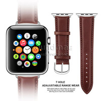 Cheap Genuine Head Leather 38mm 42mm Wrist Watch for all size of Apple iWatch Band Replacement with Stainless Metal Clasp Adapter Compatible