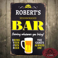 Wholesale Retro Vintage Robert s Bar Metal Sign Wall Man Cave Garage Shop Club Decor