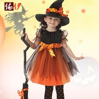 beauty set for kids - Witch Dress Hat Set Costume Halloween Costumes for Girls Kids Children Clothing Party Carnival Cosplay Theme Costume