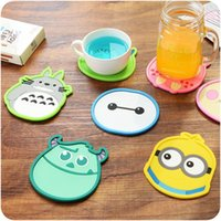Wholesale 4 Cartoon coaster Silicone cup mat Tea placement for table Kitty totoro minions Office accessories School supplies