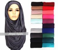 Wholesale 21 Color High Quality Plain Solid Color Jersey Scarf Cotton Plain Elasticity Shawls Maxi Hijab Long Muslim Head Wrap Long Scarves scarf