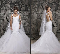 Wholesale Custom Made Beautiful Court Train Illusion Transparent Back Beaded Lace Mermaid Wedding Dresses Bridal Gowns New Sexy Dress