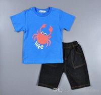 baby clothes name brand - Retail boys clothing sets boy suits summer childrens clothing set kids tracksuits children set jeans name brand baby clothes lm