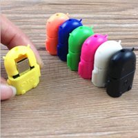 Wholesale Multi color Option Robot Shape Android Micro USB To USB Converter OTG Adapter For Samsung Galaxy S3 S4 S5