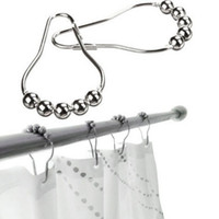 Wholesale 2016 new Fashion Hot Polished Satin Nickel Roller ball Shower Curtain Rings Curtain Hooks