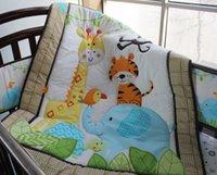 Wholesale 2016 Embroidery Forest Animal Elephant Giraffe Tiger Bird Flowers Baby Bedding Set Quilt Bumper Skirt Mattress Cover Crib Bedding Set