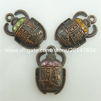 beetle gifts - 15453 x Alloy Antique Vintage Retro Egyptian Civilization Beetle Crystal Charm