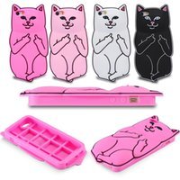 silicone finger cover - 3D Soft Silicon Cat Case Middle Finger pocket Cartoon Animals Rubbe silicone Capa Cover For iPhone s iPhone6 s Plus s