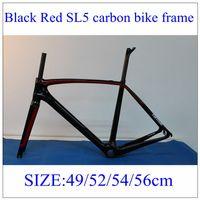 Wholesale SL5 Black Red Full Carbon Bike Frames Set UD Weave Road Bicycle Frame With BSA BB30 Size CM