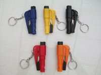 Wholesale Mini car safety hammer car broken windows device hammer broken windows to escape life saving hammer carrier Artifact Keychain