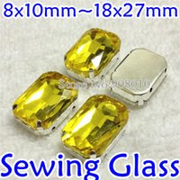 Wholesale Citrine Color Sew On Crystal Rectangle Fancy Stone With Claw Setting x10mm x14mm x18mm x25mm x27mm