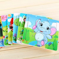 baby tiger woods - pc Modern Cartoon Baby Puzzle Wooden Education Learning Animal Tools Tiger Bee Frog Cow koalaToys for Kids