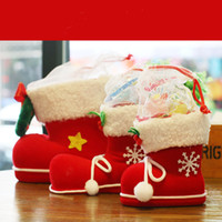 Wholesale 2016 New Christmas Ornament Children s Gift Candy Boots Christmas Decoration Small Gift Bags Festive Christmas Socks