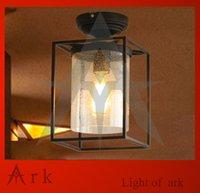 ark lighting - ark light Vintage american black iron ceiling light glass lamp