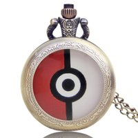 Wholesale Hot game Pokémon GO pokeball shape pocket watch mm Retro shell Pattern of poke ball Quartz Movement Free ship