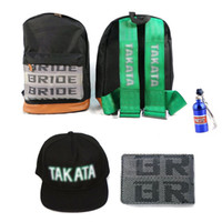 Wholesale JDM BRIDE GREEN HARNESS BACKPACK DRIFT BAG pc Wallet pc Hat PC keychain