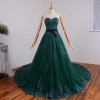 green wedding gown - Dark Green A Line Wedding Dresses Beading Sash Bowknot Sweep Train Sweetheart Sleeveless New Custom Size Bridal Gown Lace Appliques So