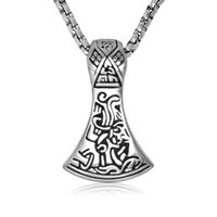 axe head - Men s L Stainless Steel Celtic Viking Axe Head double sided Pendant mm cm Venetian Links Chain Gothic Statement Necklaces