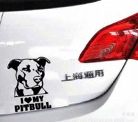Wholesale I Love My Pitbull Animal Personality Pattern Vinyl Reflective Stickers Black Silver CT2444 Cheap sticker shirts