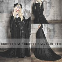 art deco halloween - Medieval Renaissance Cosplay Halloween Costumes Evening Dresses With Wrap Black Full Lace Witches Princess Dress Christmas Prom Dresses