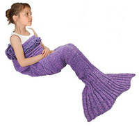 Wholesale 140x70cm Children kids Fashion Knitted Mermaid Tail Blanket Super Soft Warmer Blanket Bed Sleeping Costume Air condition Blanket