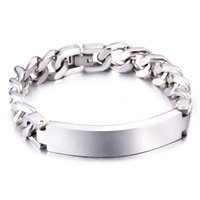 Wholesale Charming Handsome Fashion Cool Jewelry Gift Silver L Stainless Steel Cuban Curb Chain ID Bracelet Mens mm