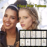 arm hair - 10pcs Hair Tattoos Waterproof Flash Tattoos Non toxic Temporary Tattoos And Sexy Metal Jewelry Tattoo
