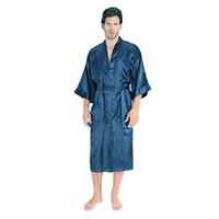 Wholesale Mens Women Plus Size Long Satin Bath Robe Sexy Peignoir Homme Kimono Bathrobe Summer Silk Robes Dressing Gown for Men Sleepwear
