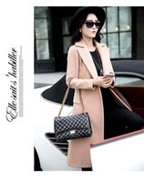 Wholesale 9011Tracyexp Brand new wool Blend two buttons Lady Coats M XXL X Long Beige blue green colors Lady winter clothing