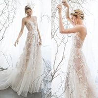 Wholesale Mira Zwillinger Wedding Dresses Sweetheart Appliques Illusion Bridal Gowns Sleeveless Floor Length Tulle Wedding Gown