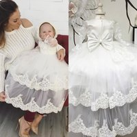 Wholesale Nice Appliques Christening Dresses With A Bow Long Sleeves Tulle Pageant Dress Lace up First Communion Baptism Gowns