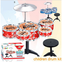 Wholesale Big size children simulation drums kit musical instrument toys with little stool dhl