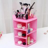 Wholesale 2016 Brand New Big Capacity Rotating makeup organizer Cosmetics Storage Box Plastic Cosmetic Organiser Sundries Display