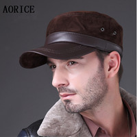 Wholesale HL026 New lambskin sheep skin in Russia genuine leather Grin suede genuine hat baseball cap