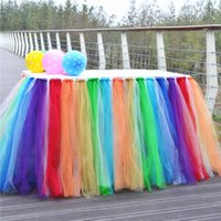 Wholesale Rainbow color Tulle Tutu Table Skirt Tulle Tableware for Wedding Decoration Baby Shower Party Wedding Table Skirting