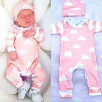 al por mayor sombreros recién nacidos de color rosa-Bebé recién nacido del algodón del otoño fijó 2017 bebé rosado dulce de la impresión de la nube de los bebés con la ropa larga de la manga del niño 2pcs de los monos del sombrero