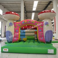 Wholesale newest style mm pvc tarpaulin folded inflatable bouncer toy house used mushroon trampoline for child